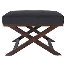 cortesi home traditional cross legs charcoal bench ottoman x legs
