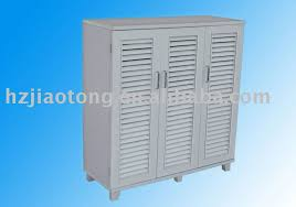 White Shoe Cabinet With Doors by White Colour Shoe Cabinet With 3 Louvered Doors Buy Kd Shoe