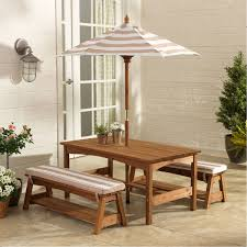 kidkraft outdoor table and bench set with cushions and umbrella