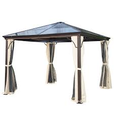 Mosquito Curtains Coupon Code by Outsunny 10 U0027 X 10 U0027 Aluminum Hardtop Backyard Gazebo With Side