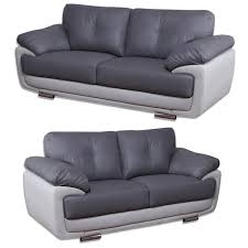 Mansfield Two Tone Grey Leather Sofas All Combinations Available - Chelsea leather sofa 2
