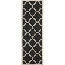 Outdoor Runner Rug Safavieh Courtyard Quatrefoil Black Beige Indoor Outdoor Runner