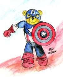 cuddly watercolor sketch of captain america the teddy bear the