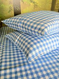 linen pillow case in blue and white gingham linen 4 you