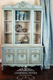 blue china cabinet by charmingpatina on etsy www etsy com shop