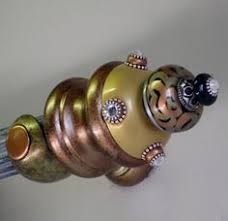 Banister Ball Susan Goldstick Finials Banister Ball Tiki Light Gold Black Amber