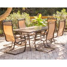 monaco 7 piece dining set with six c spring chairs and a tile top