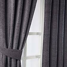 Black Curtains 90 X 54 Heather Plain Chenille Pencil Pleat Readymade Curtains Charcoal
