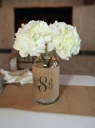 jar table decorations monogram burlap jar sleeve wedding table decoration set of 2