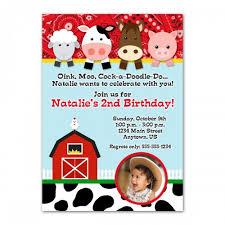 farm animals custom photo birthday invitation design you print