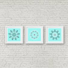 bright turquoise bathroom wall art set of 3 print mandala