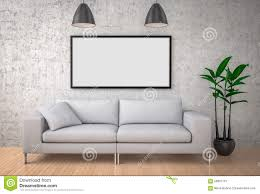 Big Sofa by Mock Up Poster Big Sofa Concrete Wall Background 3d Illustrat