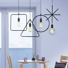 Restaurant Kitchen Lighting Modern Brief Hanging Metal Wire Pendant Lamps Micromacro Geometric