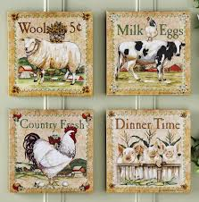 farm animal kitchen decor set of 4 farm animal canvas prints