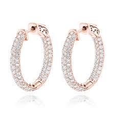 diamond hoops 14k gold small inside out diamond hoop earrings 2 9ct