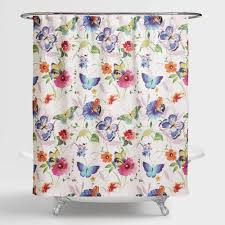 Whimsical Shower Curtains Colorful Butterflies Take Flight On Our Watercolor Floral Print