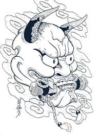 japanese hannya mask designs by horimouja outline stencil