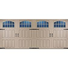 steel carriage garage doors shop pella carriage house 192 in x 84 in insulated sandtone double