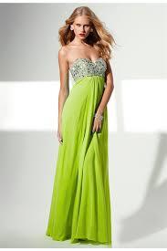 empire waist lime green chiffon beaded long prom dress