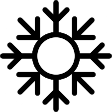 snowflake with circle outline and arrows pointing to center icons