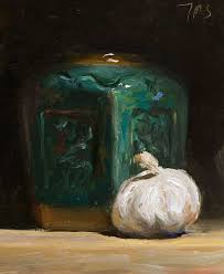 daily paintings garlic head and ginger jar postcard from provence