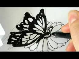 how to draw a butterfly landing on a flower