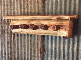 rustic 5 peg log coat rack with small shelf