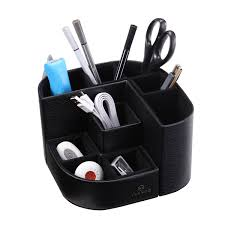 vpack 7 compartments multifunctional pu leather desk organizer