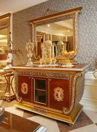 luxury french baroque style gold leaf sideboard with mirror