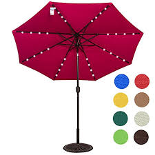 Lighted Patio Umbrella Outdoor Solar Powered 32 Led Lighted Outdoor Patio Umbrella With