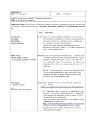 Countable And Uncountable Nouns Teaching Lesson Plan 4 Quantifiers 2