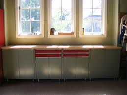 modular or pre made workbench nuvo garage ultimate garage workbench butcher block top cabinets drawers