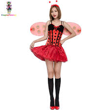 sleeveless women ladybug dresses with wing halloween insect