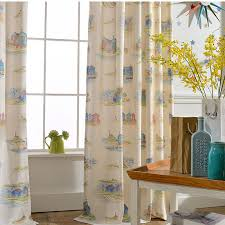 Curtains Printed Designs Light Yellow Cartoon Curtains Mediterranean Style Room Kids