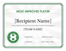 award certificate samples most improved player certificate editable title office templates