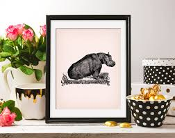 Couch Drawing Hippo Hippopotamus 8x10 On The Pink Background U0026 Clipart Sofa