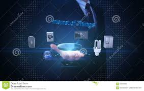 businessman open palm internet of things technology connecting