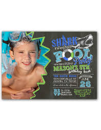 shark infested pool birthday party invitation with green photo u2013 2