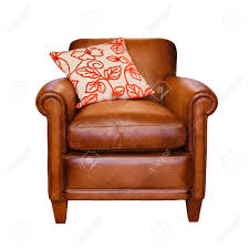 Leather Armchair Leather Armchair With Trendy Cushion On A White Background With