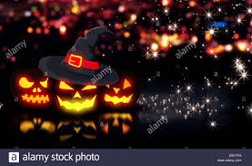 3d halloween background halloween glowing three pumpkins night city bokeh background 3d