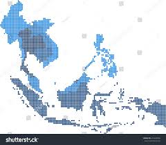 Eastern Asia Map Circle Dot South East Asia Nearby Stock Vector 410249986