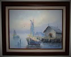 nautical painting oil painting on canvas nautical maritime ships fishing boats signed