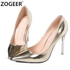 wedding shoes no heel hot 2017 autumn women pumps gold silver high heels