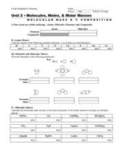 molecular mass and percent composition 9th 12th grade worksheet