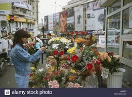 Flower Shops by Romania Bucharest Centre Shopping Street Piata Unirii Flower