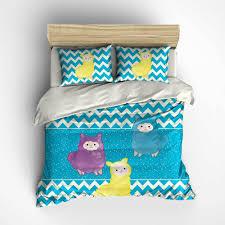 Children S Duvet Cover Sets Children U0027s Duvet Cover Comforter Llama Bedding Blue Yellow Purple