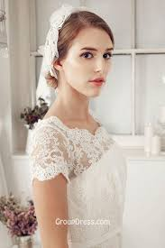 wedding dresses made to order scalloped lace cap sleeve a line fall vintage wedding dress