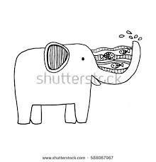 elephant vector zen tangle stylized cartoon stock vector 588065858