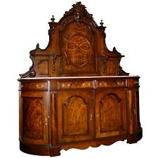 2821 victorian burl walnut antique sideboard with marble top from
