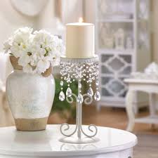 shabby dazzling chic table top beaded chandelier candleholder set of 2